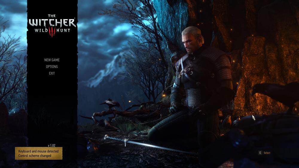 Menu de The Witcher 3 et méditation de Geralt devant son épée...